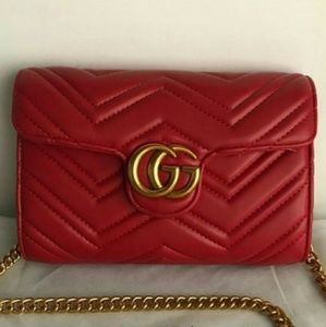 New Gucci marmont red Chain wallet cross body bag